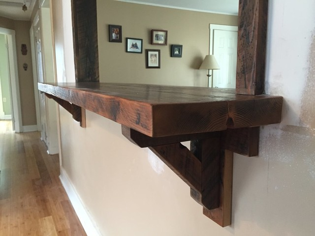 Kitchen Pass-Through with Reclaimed Bar and Trim - Rustic ...