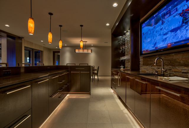 Kitchen Technology Contemporary Home Bar Omaha By Echo Systems