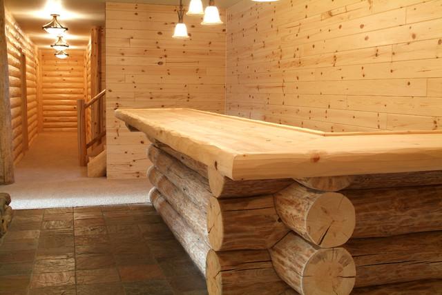 Knotty Pine And Full Log With Saddle Notch Corners Bar