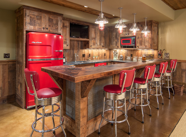 Lake House Barnwood Bar - Rustic - Home Bar - Other - by Steven Cabinets