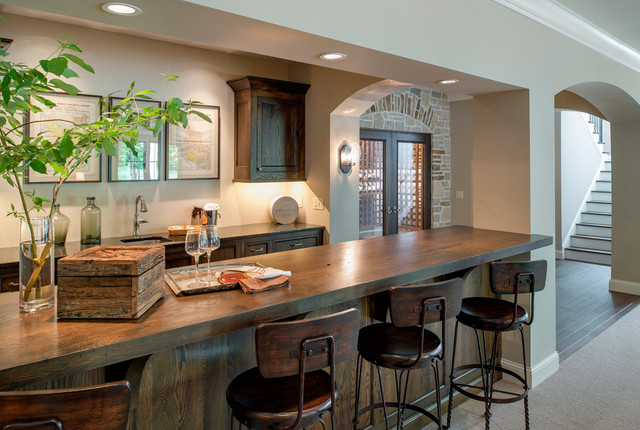 Lake Minnetonka New Construction mediterranean-home-bar