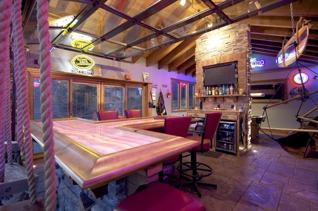 Lakeside Boathouse Bar beach-style-home-bar