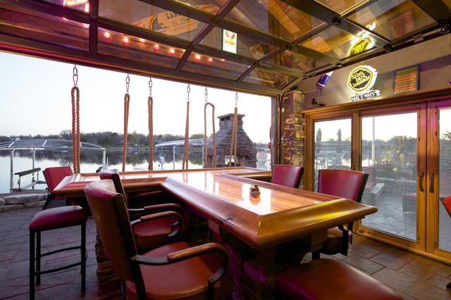 Lakeside Boathouse Bar Beach Style Home Bar Omaha By T Hurt Construction