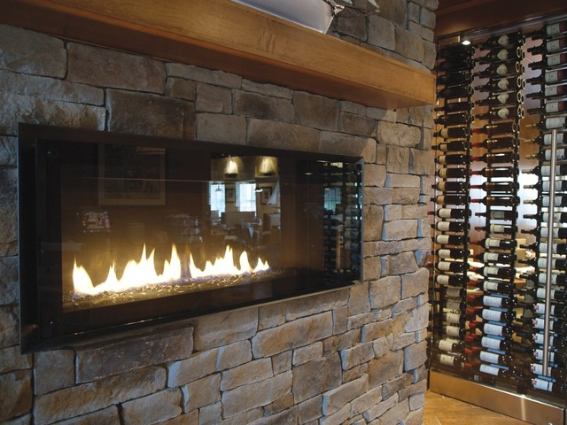 Ledge stone veneer interior fireplaces contemporary home bar other by stone selex for Interior fireplace stone veneer