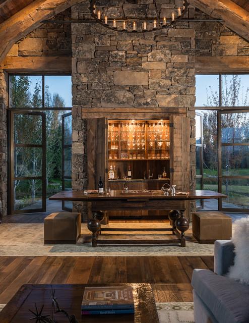 Linn ranch rustic home bar jackson by big d signature for Jackson wy alloggio cabine