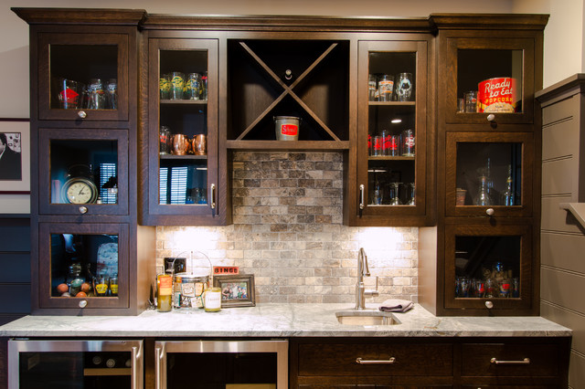 Lower Level Bar Back Wall Transitional Home