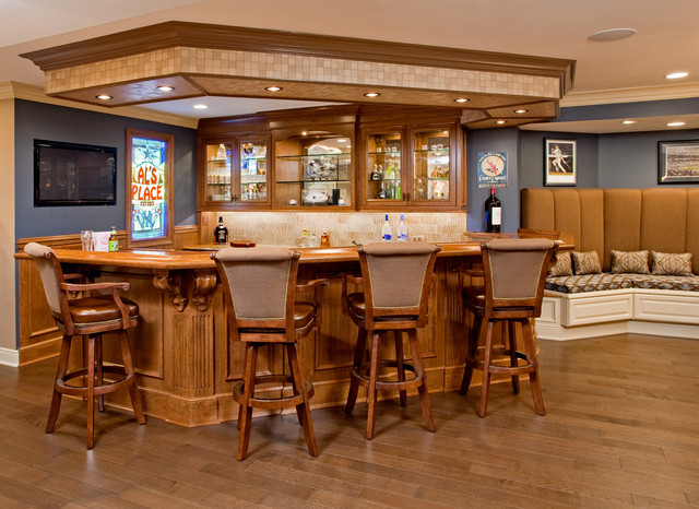 Luxury Sports Bar - Traditional - Home Bar - other metro - by Superior Woodcraft, Inc.
