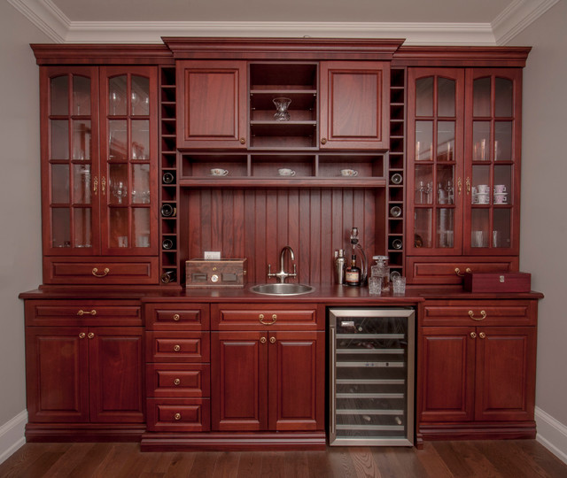 Example Of A Large Classic Single Wall Wet Bar Design In Toronto With Wood  Countertops