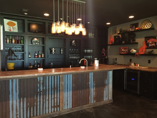 Man cave industrial home bar portland by monica for Design a man cave