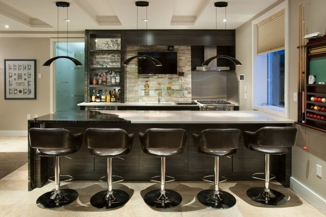 Captivating Mancave Entertainment Lounge Bar Games Room Kitchen Transitional Home Bar