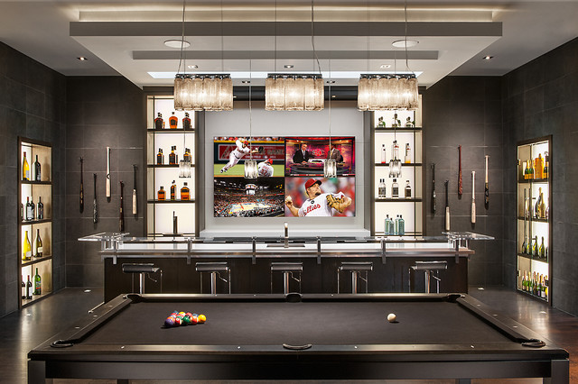 Minimalist mountainside contemporary home bar phoenix by ownby design - Bar counter designs small space minimalist ...