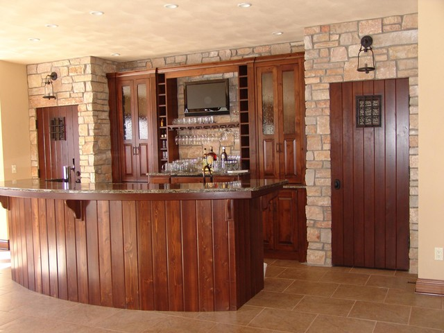 Mission style home bar tv install craftsman home bar for Home bar installation