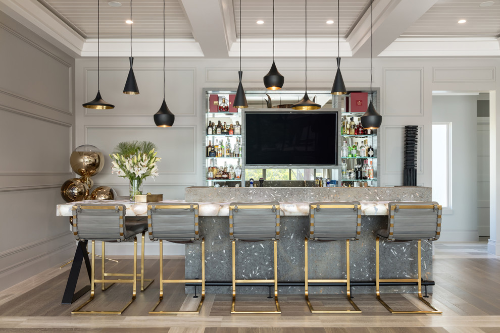 Beach style multicolored floor seated home bar photo in Tampa with open cabinets and multicolored countertops