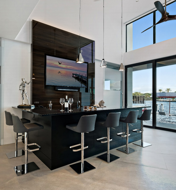 Modern Waterfront Living Contemporary Home Bar Miami by