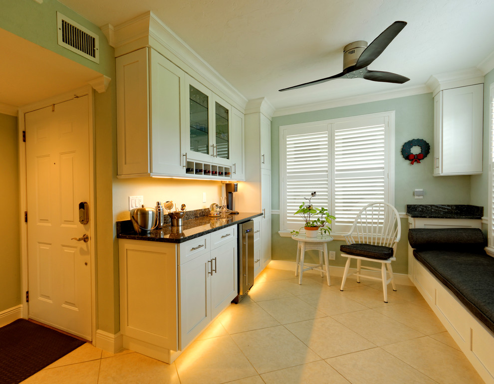 Naples Florida White Shaker Bar - Transitional - Home Bar ...