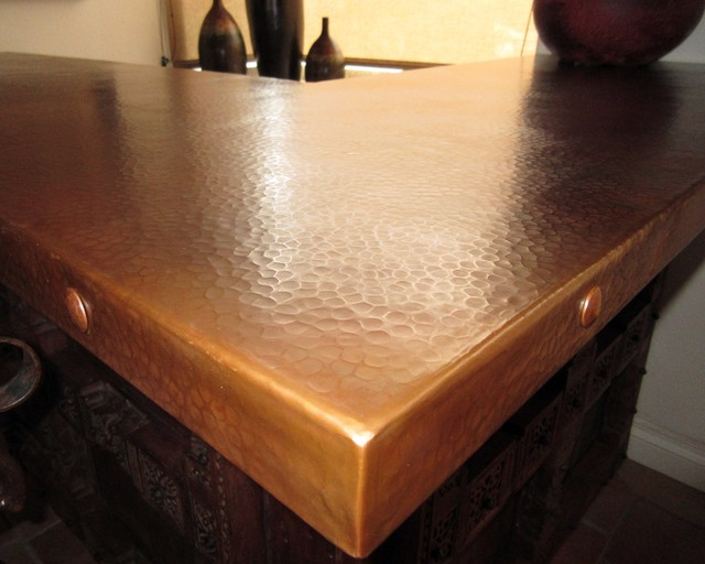 High Quality Natural Patina On Hammered Copper Countertop Southwestern Home Bar