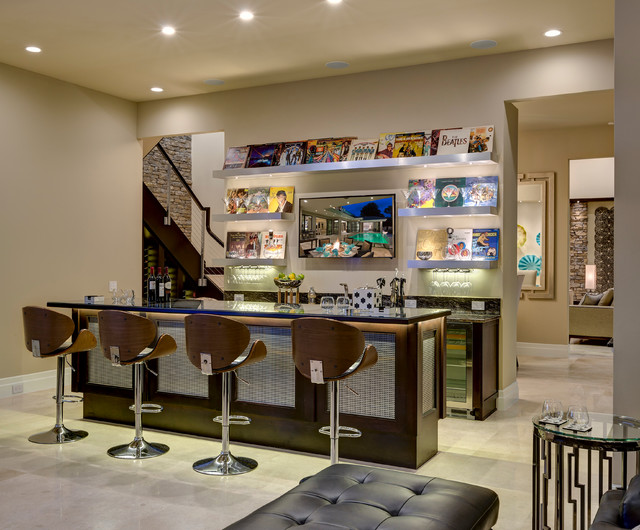 New Southern Home transitional-home-bar