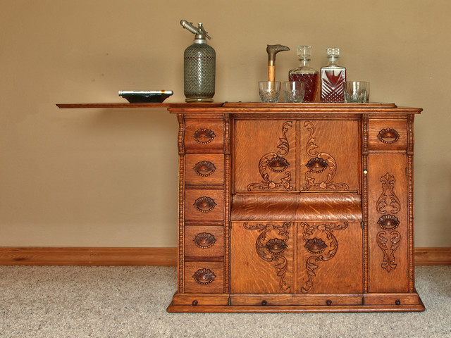 New use for an Vintage Sewing Machine Parlor Cabinet - Transitional - Home Bar - portland - by ...