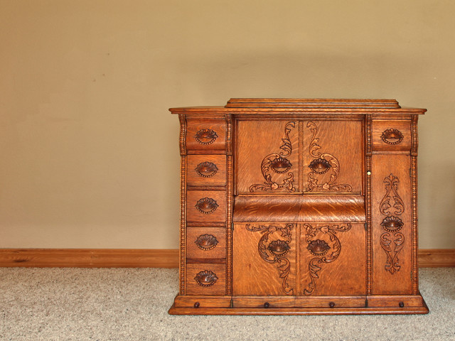 ... use for an Vintage Sewing Machine Parlor Cabinet transitional-home-bar