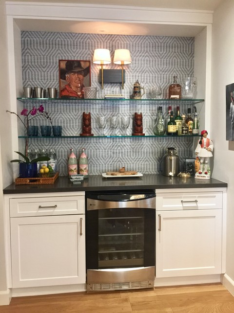 Inspiration for a small 1950s single-wall light wood floor home bar remodel in Phoenix with white cabinets, quartz countertops, multicolored backsplash and shaker cabinets
