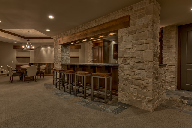Old World Sanctuary Home Omaha Ne Traditional Home Bar Omaha By Eurowood Cabinets Inc