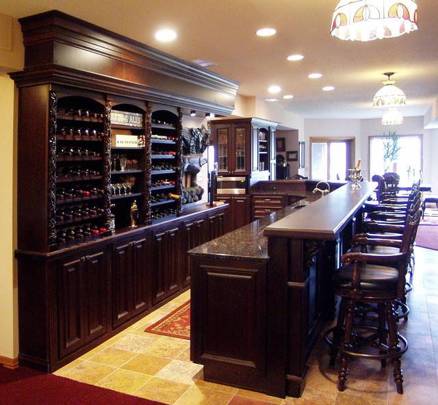 Traditional Home Bar Designs: English Pub Lower Level Bar