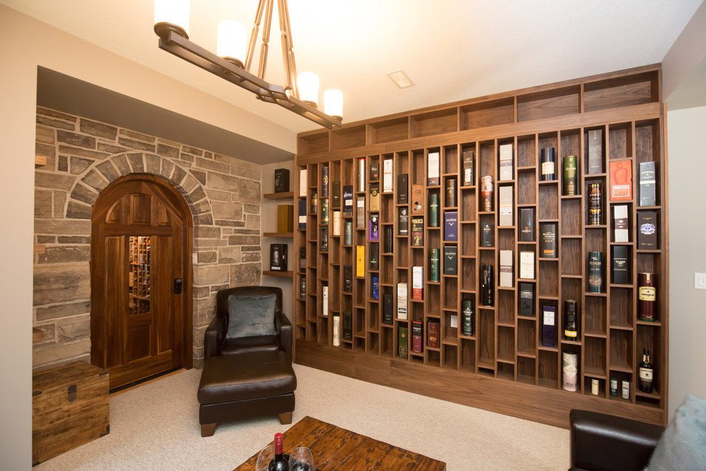 Tuscan single-wall carpeted and gray floor home bar photo in Toronto with open cabinets and medium tone wood cabinets