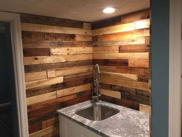 Pallet Wood Backsplash Rustic Home Bar Columbus By