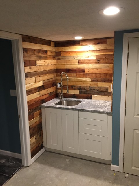 pallet wood backsplash rustic home bar columbus by revival
