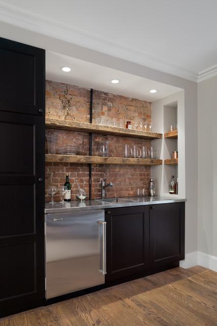 Park Slope Brownstone Rustic Home Bar