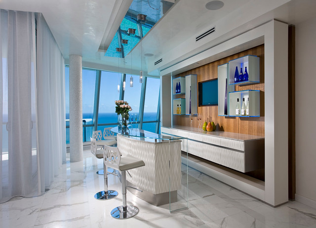 Pfuner Design, Oceanfront Penthouse Contemporary Home Bar