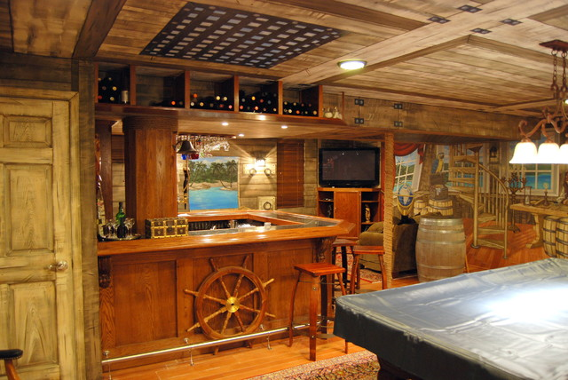 Pirate Ship Themed Murals Done In A 360 Around A Home Bar