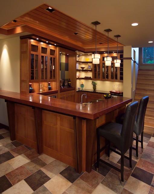 Prairie Inspired Lower Level - Contemporain - Bar de Salon ...