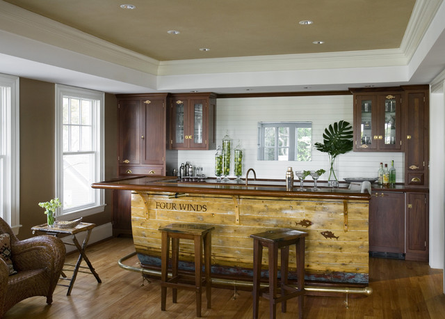 Example Of A Mountain Style Galley Medium Tone Wood Floor Seated Home Bar  Design In Boston