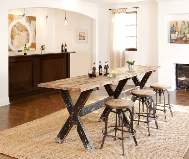 reclaimed boat wood counter height table - rustic - home bar