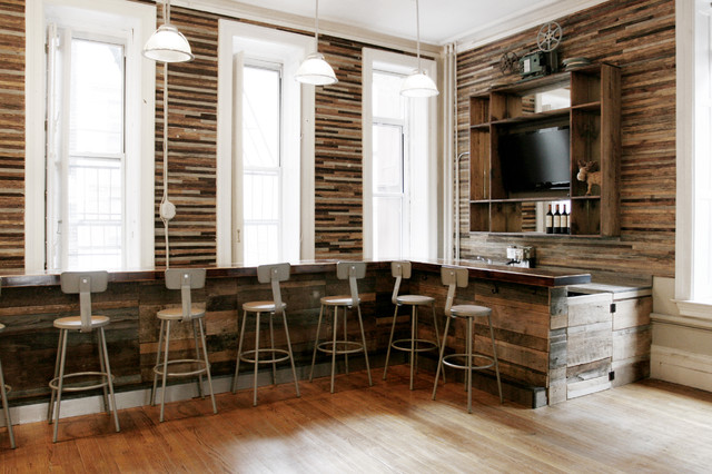 Reclaimed Wood Bar Rustic Home New York By Jen