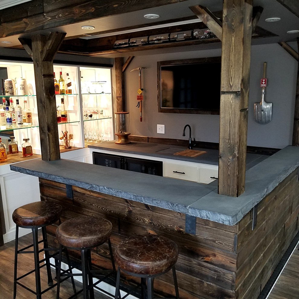 - Reclaimed Wood Bar With Custom Concrete Tops - Craftsman - Home