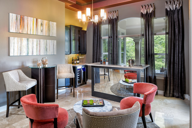 Repurposed Dining To Wine Bar Transitional Home