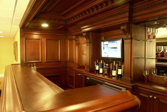 Custom residential bar traditional home bar newark by wl interiors - Residential bars ...