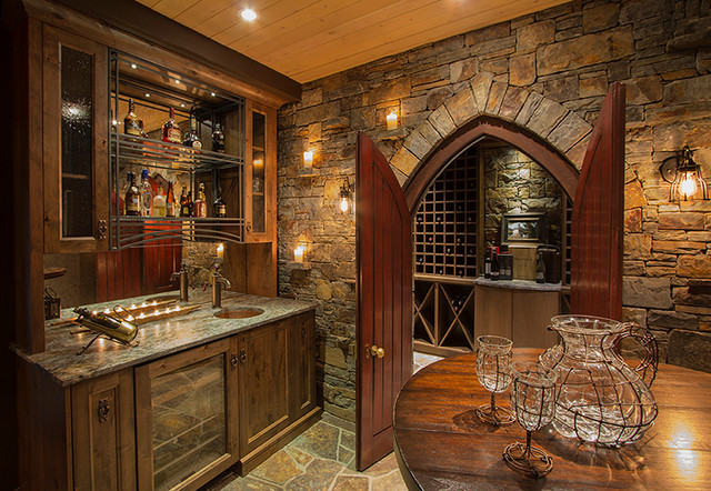 Riverside timber frame eclectic home bar calgary for Timber frame home interiors