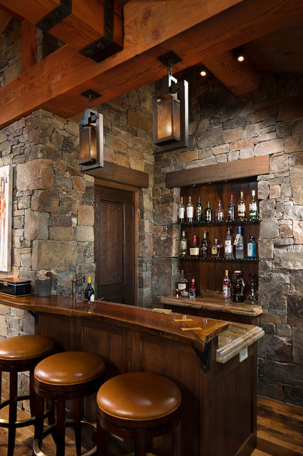 Attrayant Rocky Mountain Homes  Mountain Timberframe Rustic Home Bar