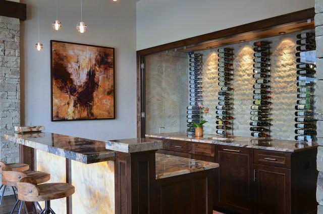 Rustic Modern Wine Bar Transitional Home Bar Dallas