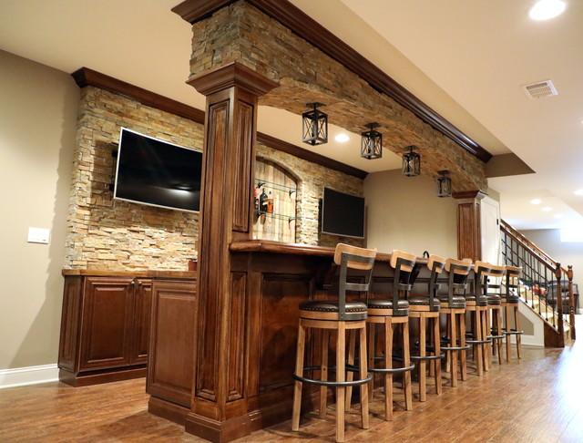 Rustic Style Basement Bar
