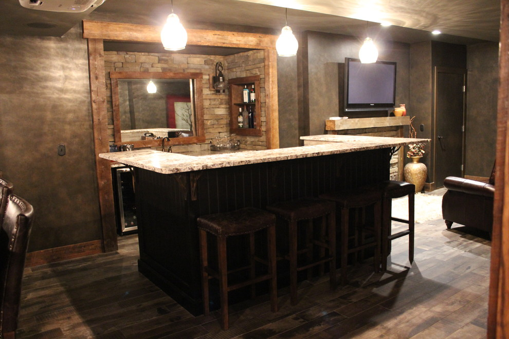 Example of a mid-sized arts and crafts single-wall porcelain tile and brown floor seated home bar design in Boston with an undermount sink, granite countertops, brown backsplash, stone tile backsplash and beige countertops