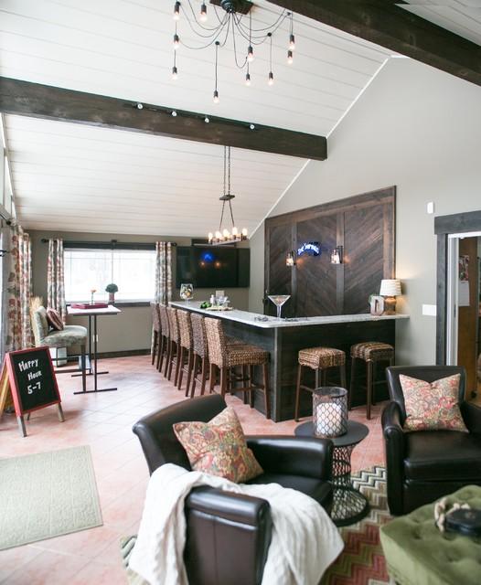 Sebago Lake Family Room Pub Renovation Rustic Home Bar