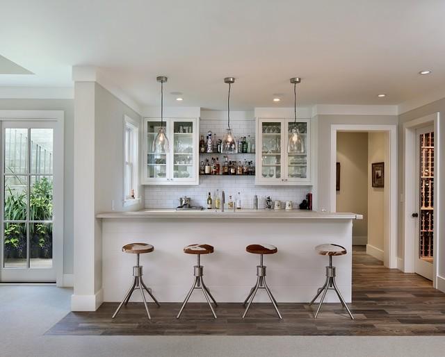 Shades of white farmhouse home bar