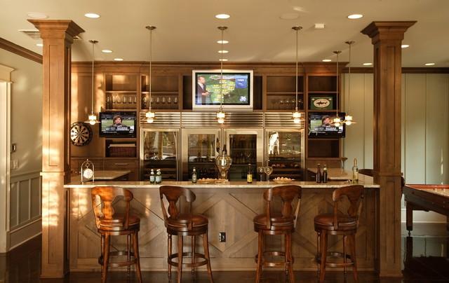 Shingle Style House traditional-home-bar