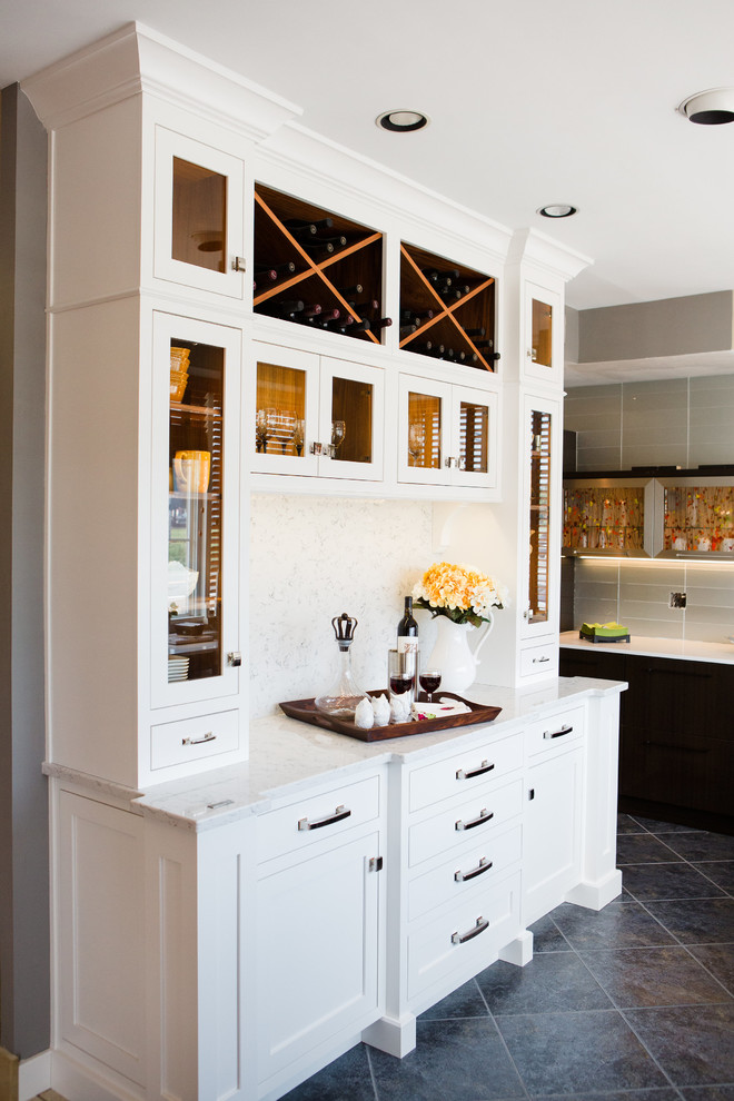 Farmhouse home bar photo in Other with recessed-panel cabinets, white cabinets and quartz countertops