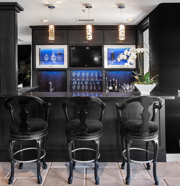 SJC Dramatic Remodel Contemporary Home Bar Orange