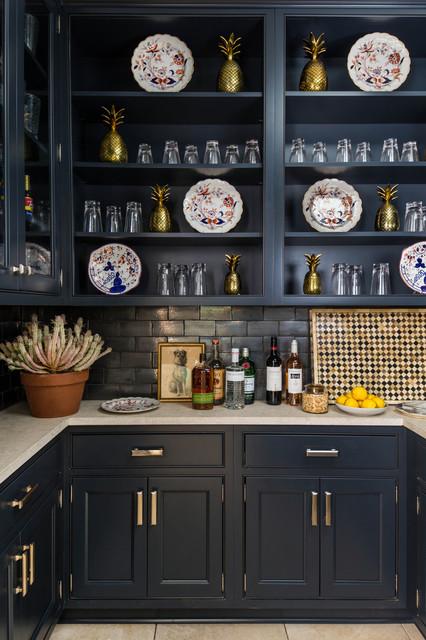 Inspiration for a transitional u-shaped home bar remodel in Other with open cabinets, blue cabinets, black backsplash and subway tile backsplash